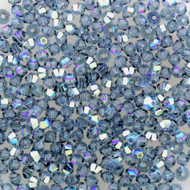 facetted Bicone beads 5328 XILION bead 48-144pcs ~ 3mm Denim Blue AB crystal *