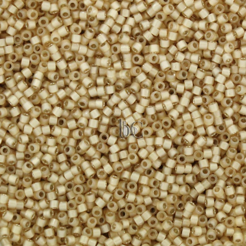 5g Miyuki 11/0 DELICA Seed beads  SILVER LINED Light Honey image 0