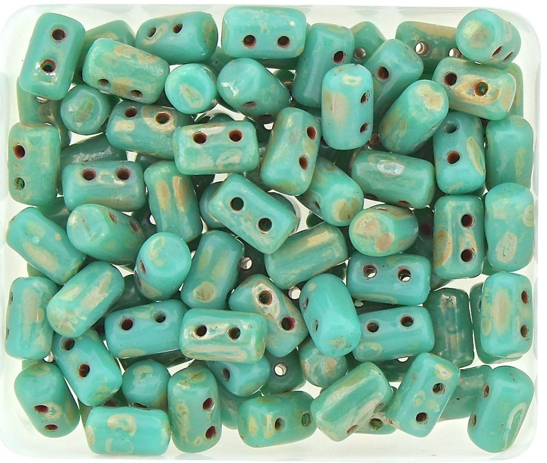 10g Czech Glass 2 hole Rulla beads Green Turquoise PICASSO image 0