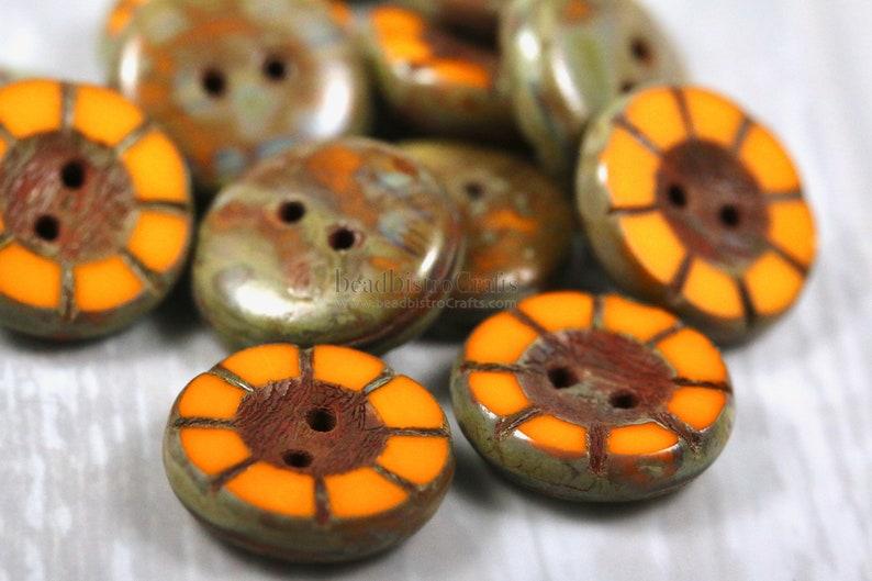 8 Table Cut Buttons  14mm Czech glass button  wheel pattern image 0