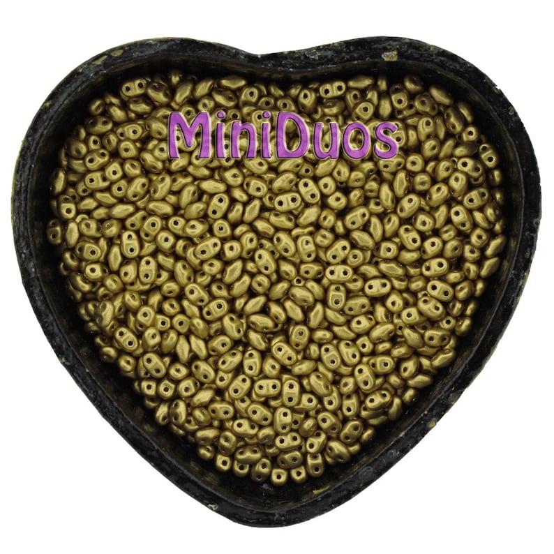 10g Czech NEW MiniDuo 2 hole beads  Matte METALLIC Yellow image 0