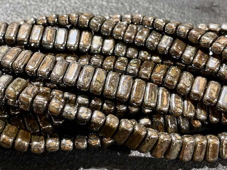50pcs CzechMates 2 hole brick beads  LUSTER Chocolate Brown image 0