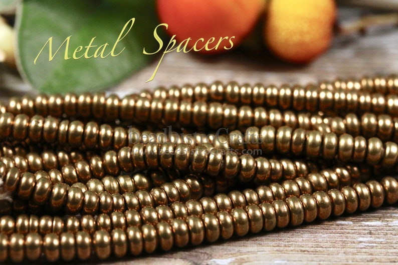 Rounded RONDELLE SPACER beads  Antiqued Brass Spacers  Long image 0
