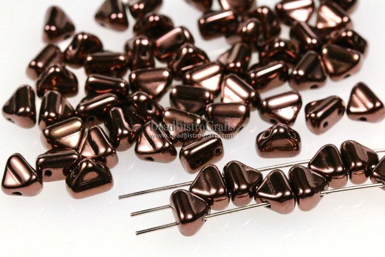 40pcs 2-hole Half Silky beads  Jet LILA VEGA LUSTER  6x8mm image 0
