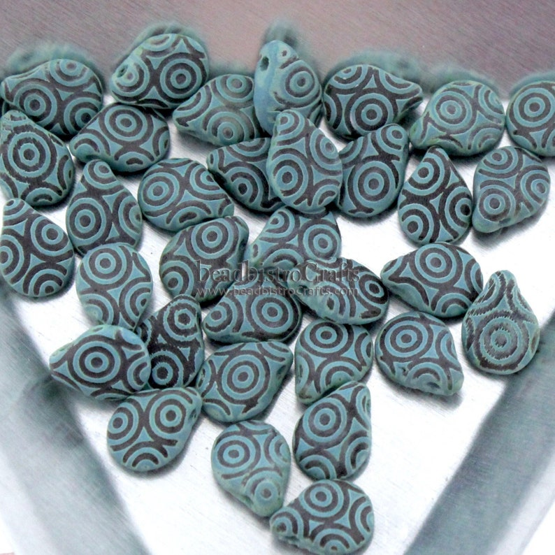 LASER Tattoo Pip Beads  35pcs Czech Glass Jet Chalk Turquoise image 0