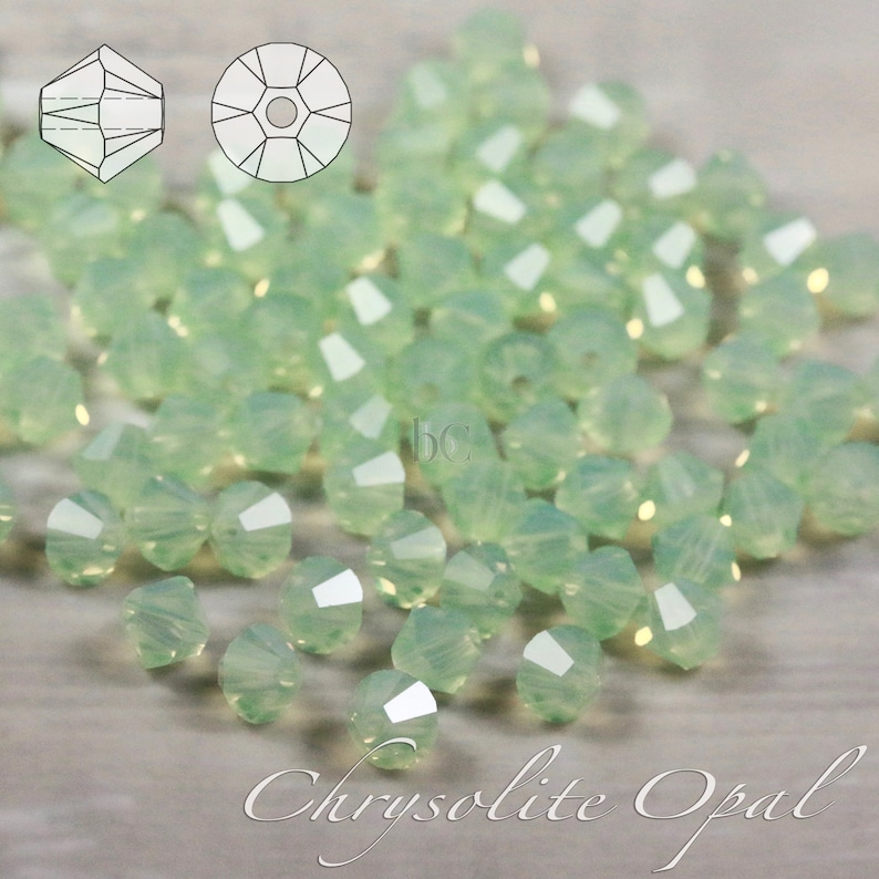 24  72pcs  5mm  CHRYSOLITE OPAL  facetted Bicone beads image 0