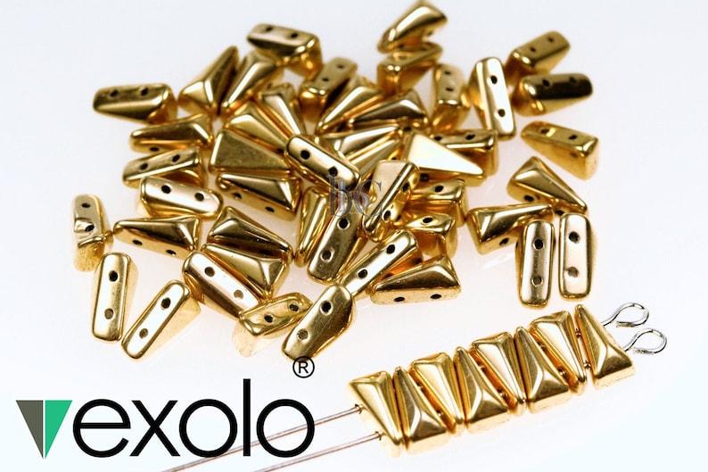 5x8mm Gold Vexolo® beads  25  150pcs  2 hole beads  image 0