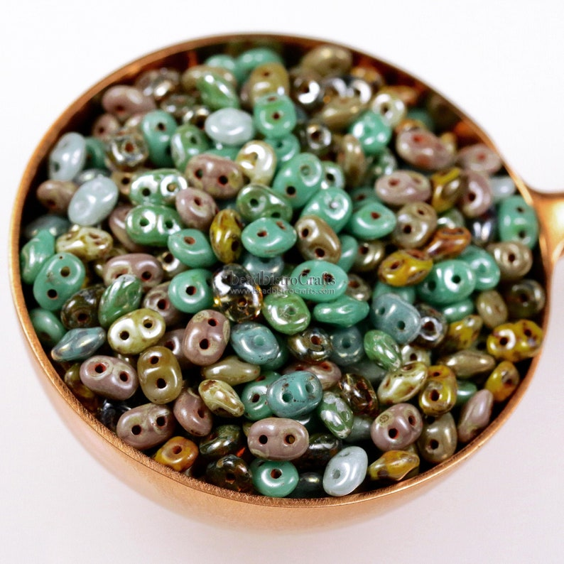 20g Czech SuperDuo 2 hole beads  Green TURQUOISE CANYON Mix  image 0
