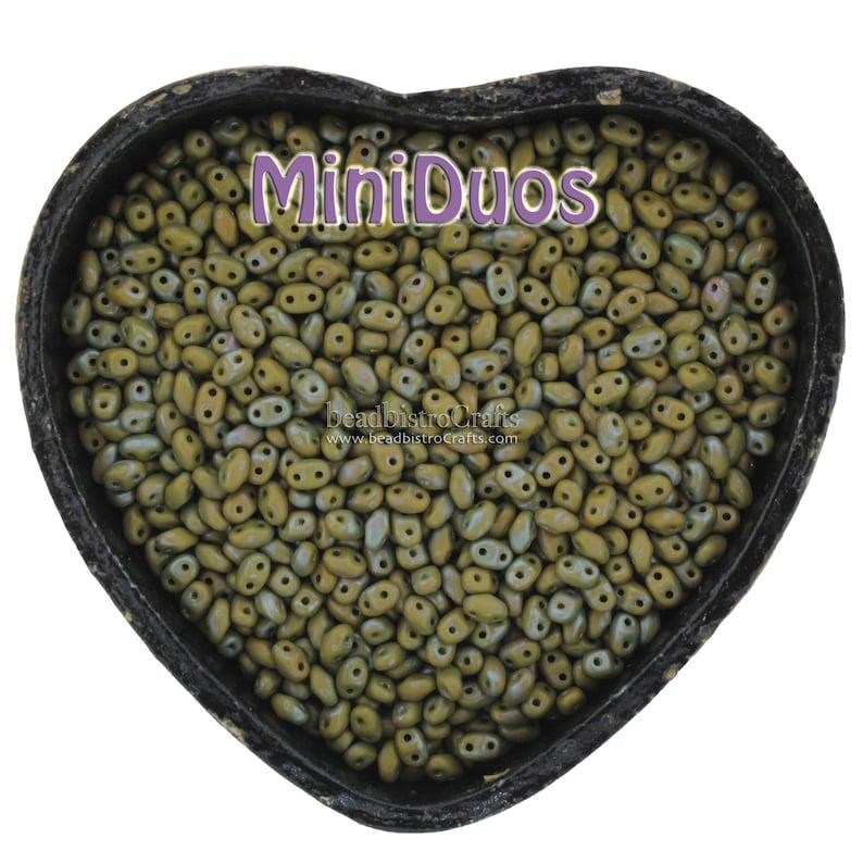 10g Czech MiniDuo 2 hole beads NEBULA Opaque Olive MATTE 2x4mm image 0