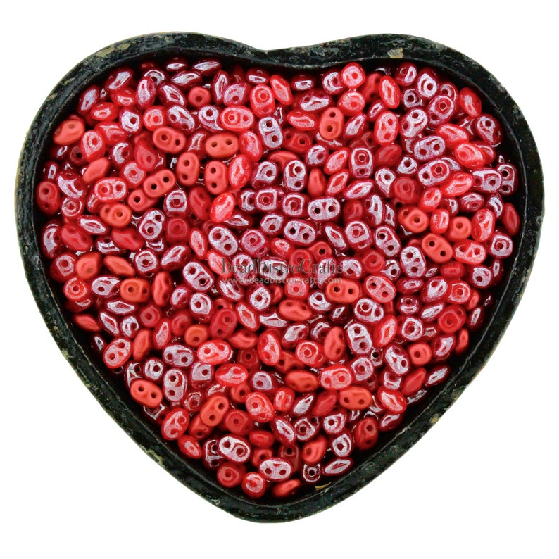 20g Czech SuperDuo 2 hole beads  PASSION FLAME SCARLET Mix  image 0