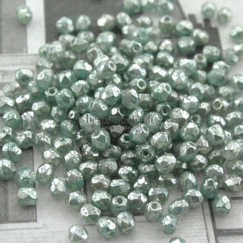 3mm Czech glass  50pcs Fire Polish bead  ANTIQUE SILVER image 0