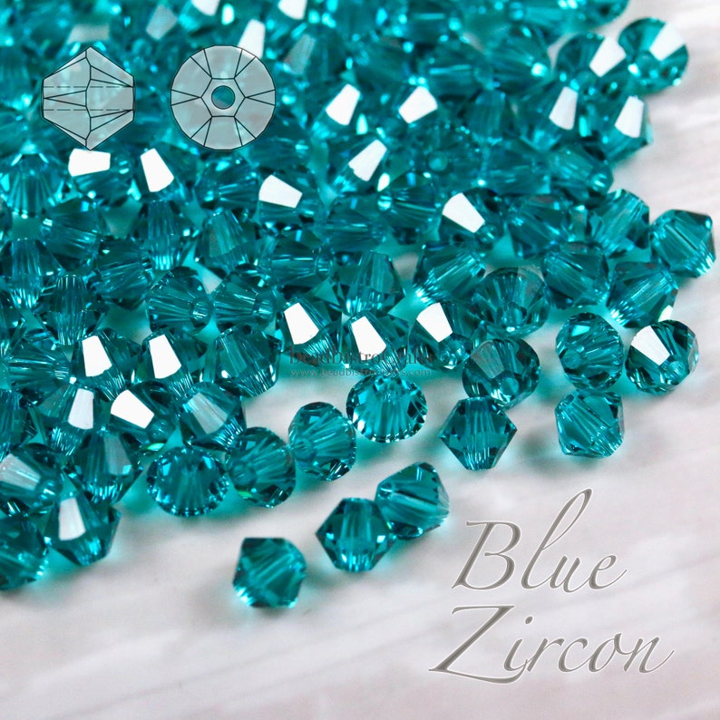 48  144pcs  4mm  BLUE ZIRCON  facetted Bicone beads 5328 image 0