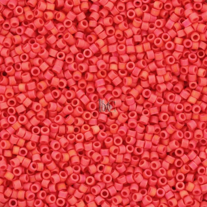 5g Miyuki 11/0 DELICA Seed beads  Opaque Bright Coral AB image 0