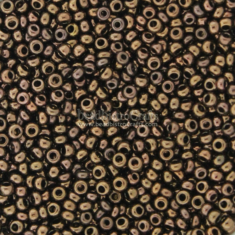 Vintage 8/0 ROCAILLES Round Seed beads  METALLIC Chocolate image 0