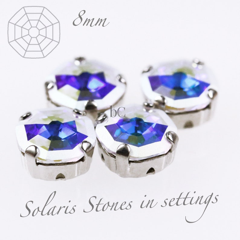 4pcs Swarovski  8mm Crystal AB  Part Frost / Rhodium Plated image 0