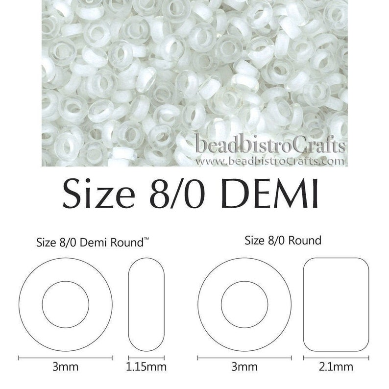 DEMI Rounds 8/0 Toho seed beads  Inside Color Crystal SNOW image 0