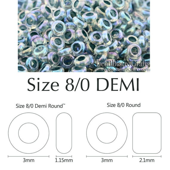 28 Gram Size 11 Demi Round Crystal Clear Gold Lined Toho glass seed beads
