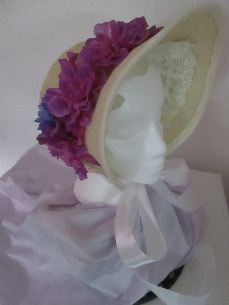 Victorian Style Hats, Bonnets, Caps, Patterns Victorian Women Straw Bonnet (O/S) #NB-183 $50.00 AT vintagedancer.com