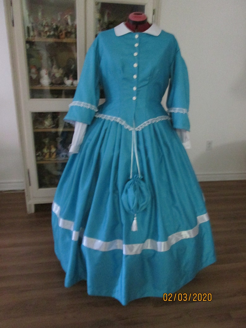 Victorian Clothing, Costumes & 1800s Fashion Civil War Women Dress 1860-1865 Women Clothing (Size 20) #NB-117 $185.00 AT vintagedancer.com