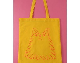 Funny cat tote bag, grumpy cat tote bag, cute tote bag, yellow tote bag, animal tote bag, funny tote bag