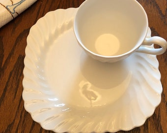 Johnson brothers square  plates  set of 7 ,one cup