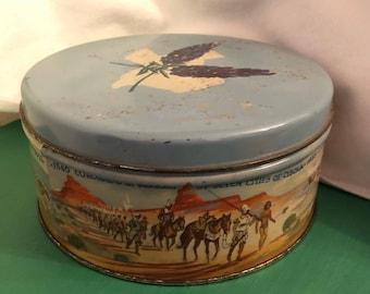 Metal cookie tin Texas fruitcake