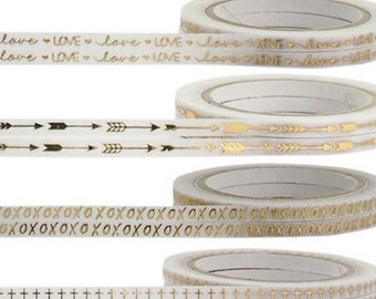 Full Rolls Thin Washi Tape, Choose Your Designs White And Gold Foil Metallic Tape Love,XOXO,Cross,Arrow