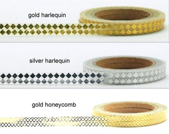 Full Rolls Thin  Metallic Foil  Washi Tape Choose  Design Gold Honeycomb,Gold Harlequin,Silver Harlequin