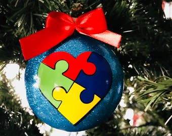 """Last minute gift idea Autism Ornament """"My Heart Belongs to Someone with Autism"""""""