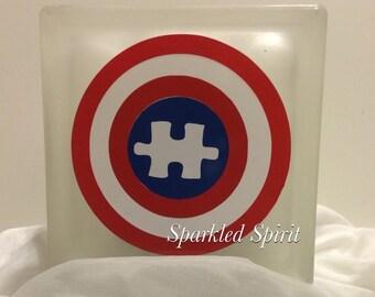 Autism Awareness Captian America Superhero Glass Block Night Light