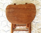 Vintage Wooden Child 39 s Folding Stool with Handle Plant Stand Primitive Rustic