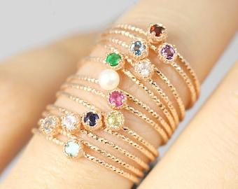 14K rose gold birthstone ring, garnet ring, topaz ring, gold simple ring, Birth stone ring, solitaire ring, Dainty ring, gold stackable ring