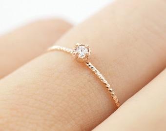 14K rose gold diamond ring, Simple gold diamond ring, Minimalist diamond ring, Rose gold simple ring, Birth stone ring, diamond ring, Ring