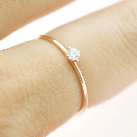 14k 18k Solitaire Diamond Engagement Ring Simple Diamond Etsy