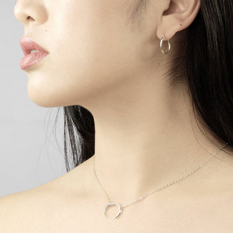Minimalistic silver necklace Upside-down Moon necklace Silver crescent necklace, Crescent necklace Sterling silver necklace