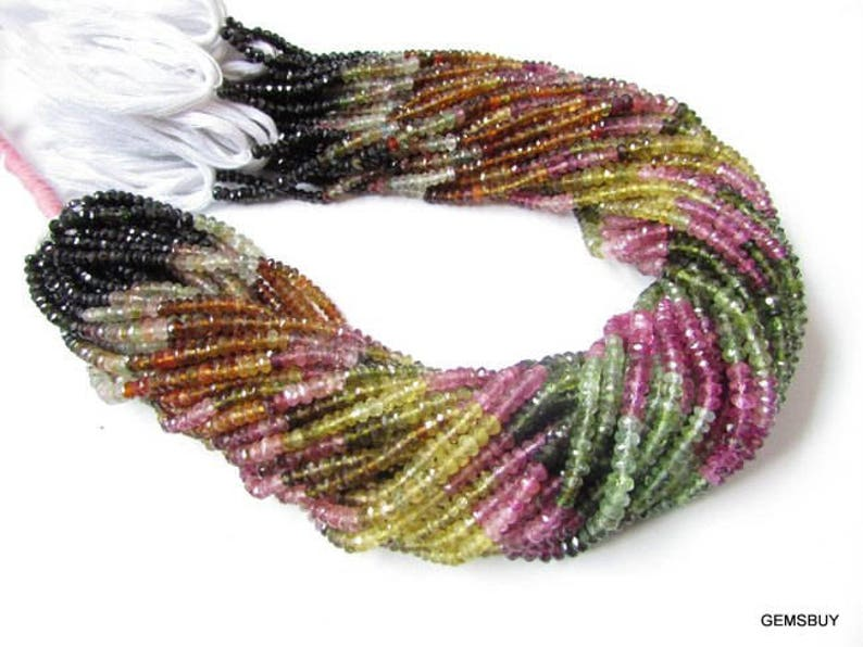 Tourmaline faceted beads Gemstone 1 strand 3.5mm Multi Tourmaline Rondelle beads 13.5 Multi Tourmaline faceted rondelle beads Gemstone