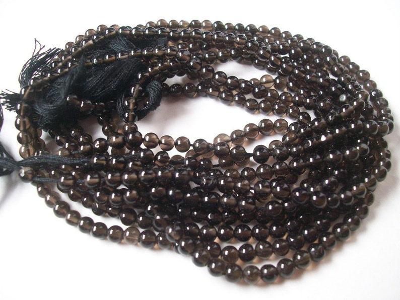 14 inch 10 strand 4mm SMOKY QUARTZ Round Balls Beads AAA Quality plain smooth balls strand...