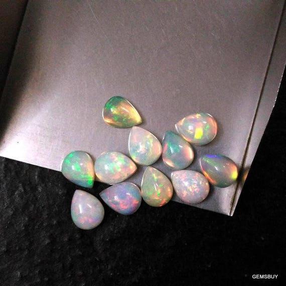100 Pieces 4x6mm ethiopian opal pear cabochon