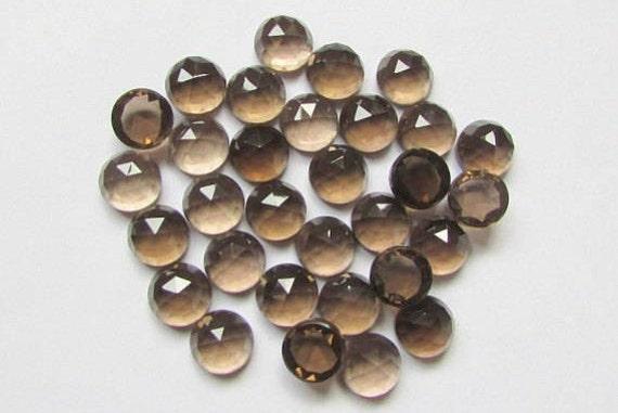 multi quantity 2 pcs 5 pcs 10 pcs 15 pcs20 pcs Smokey Quartz Round Shape Rose Cut Faceted Cabochon 3x3 mm Size Natural Gems For Sale
