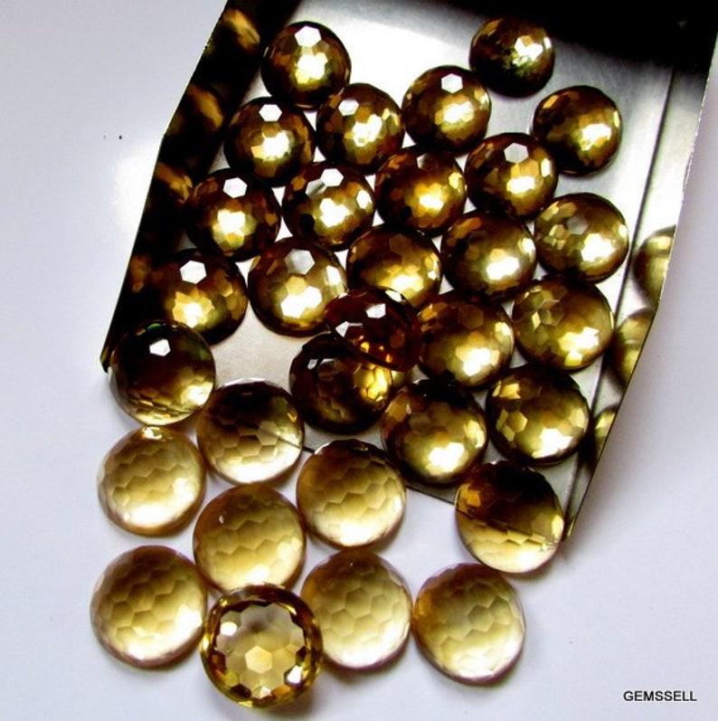 CITRINE Round Faceted Bottom Flat Gemstone 1 pieces 12mm Citrine Faceted Round Foot Ball Cut Gemstone Citrine Foot Ball Cut Round Faceted