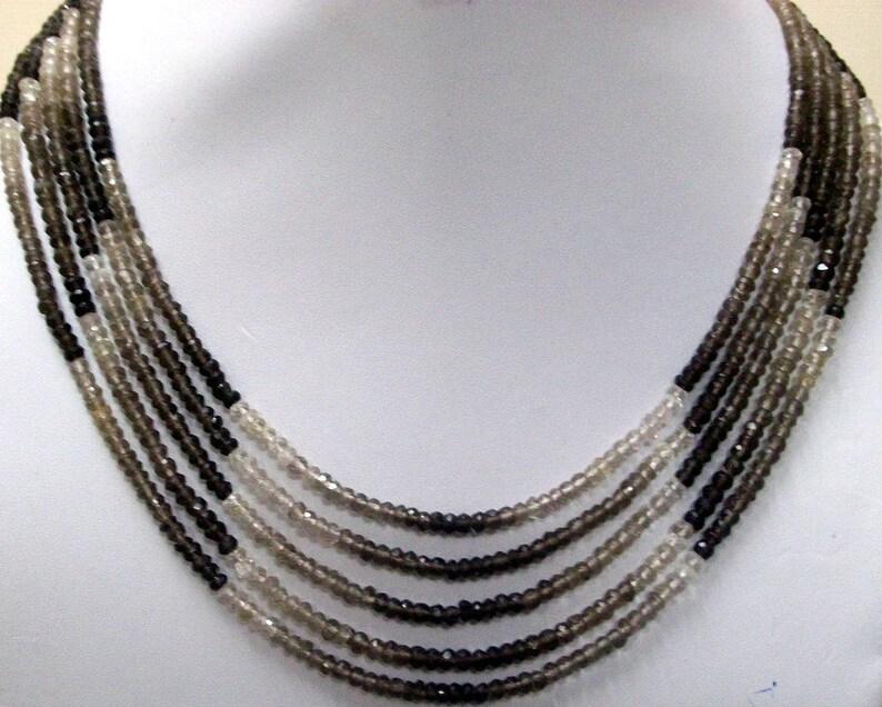 5 strand 3.5mm Necklace Natural SMOKEY QUARTZ Shaded Beads with silver lock AAA Top quality roundel beads faceted gemstone...
