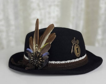 Black Steampunk Fedora Hat in Wool Felt with Removable Feathers