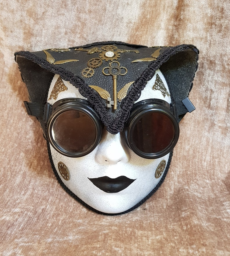 Steampunk Aviator Papier Mache Mask with Leather Helmet image 0