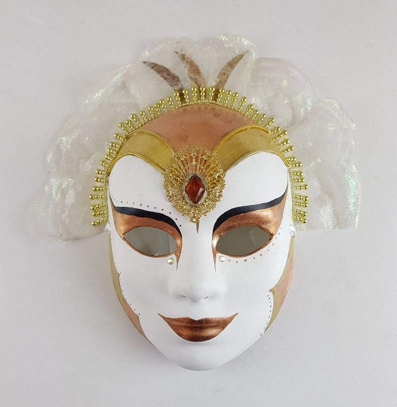 Copper and Gold Guilded Maquerade Mask with lace headress image 0