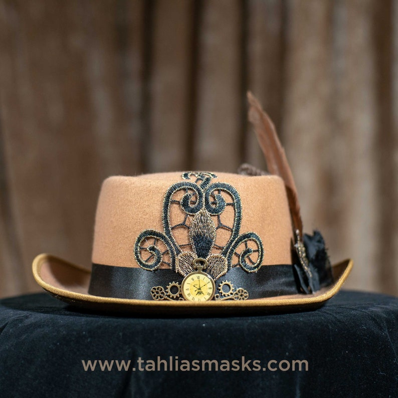 Camel Steampunk hat boater fedora with cogs clock wings and image 0