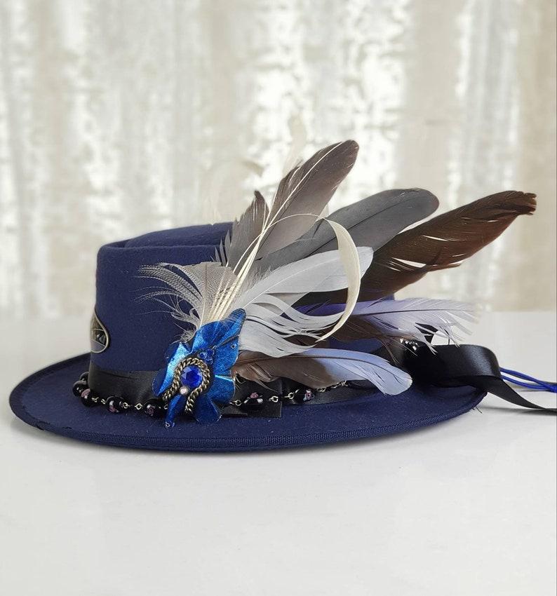 Navy Felt Hat Boater Fedora with feathers ribbon beads & image 0