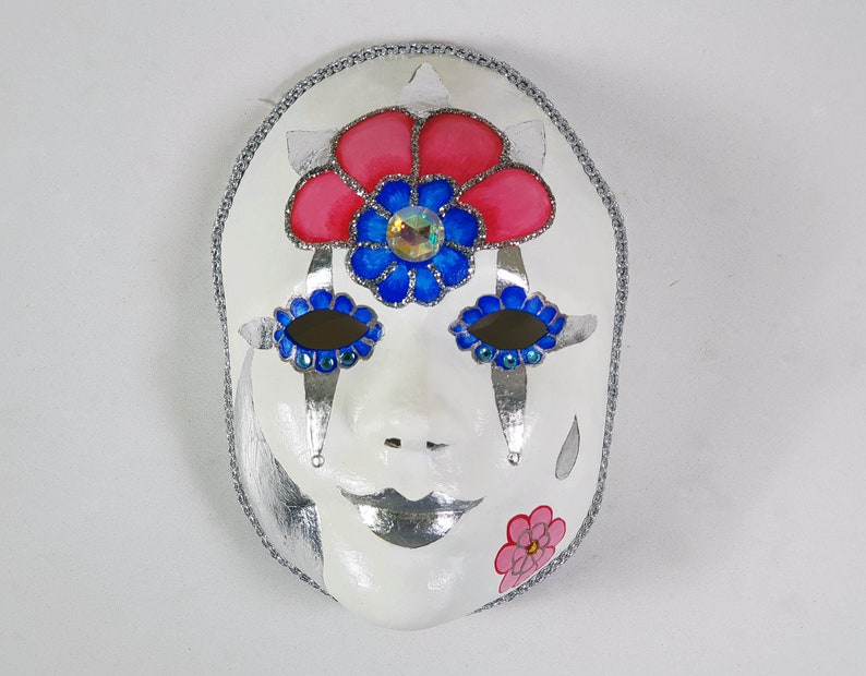 Spring Woodland Fairy Masquerade Mask with Silver Leaf image 0