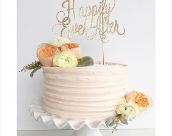 """Gold Glitter Cake Topper:  """"Happily Ever After"""""""
