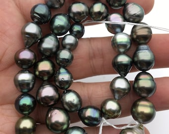 16inches 8.2-10.8mm drop Green Tahitian Pearl,Polynesia Pearl,Genuine Tahitian Pearl Necklace,natural color,wholesale,TH9-3A-16-12-4