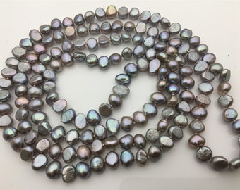 53 inches AA 8x10-11mm gray nugget pearl Necklace,Wedding Necklace,Mothers Day,Happiness,wholesale,NPN1-066